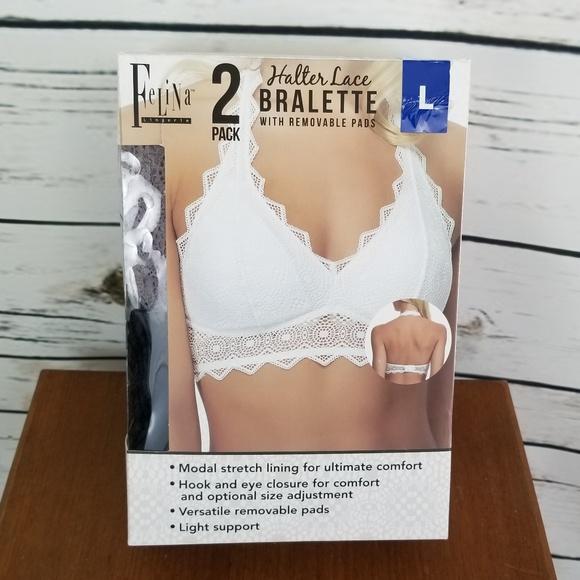 10c8723abb Bralette Bra 2 Pack Large Halter Lace Gray Black